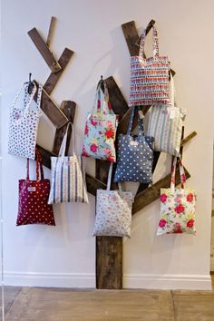 Inspired bag display by Cath Kidston. brilliant!                                                                                                                                                                                 More