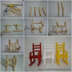 Mini cadeiras de balanco com pregadores de roupa