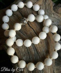White Jade & Sterling Silver Stretch Bracelet Duo - Reiki, Energy, Spiritual, Yoga, Meditation, Boho *FREE SHIPPING* by BlissbyCori on Etsy $55.00