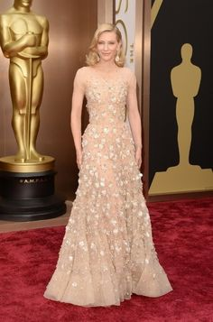 Cate Blanchett in Armani Privé | All The Most Beautiful Blush Gowns From The Oscars Red Carpet