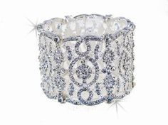 Vintage Silver Crystals Cuff Stretch Bridal Wedding Bracelet