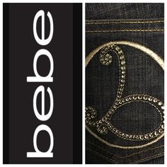 "BEBE ""CARMEN SCRLLY"" DENIMS.    NWOT Inseam 35"".    Rise 7 1/2"".    Waist 33"".    Stretch 98% Cotton.  2% Spandex bebe Jeans Boot Cut"