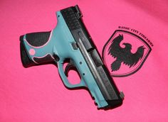 Handgun coated by PolyDyn using a custom Cerakote Teal blend and Prison Pink.
