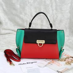 Ferragamo Medium Sofia Totes Red Black Green African Colors 0f83cb8ae64a0