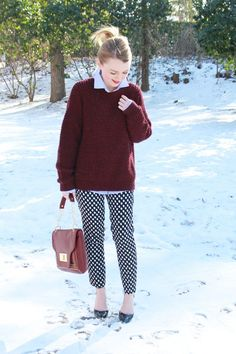 With snow on the ground and freezing cold temperatures, Cathy still has fun with fashion in her Banana Republic Polka Dot Pants!