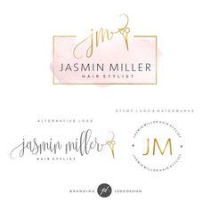 Haar Salon embleemontwerp schaar Logo pakket Kapper Logo kit