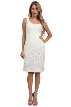 Sue Wong One Shoulder Pintuck Short Dress in Ivory