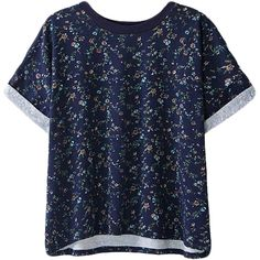 Blue Roll Sleeves T-shirt With Floral Print ($27) ❤ liked on Polyvore featuring tops, t-shirts, flower print top, blue tee, floral t shirt, round top and rolled sleeve tee