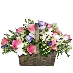 This beautiful basket contains a gorgeous mix of roses, lisianthus, freesia, bouvardia and september flower and coneys the message of heartfelt love and adoration. £30