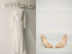 Tony Ward long sleeve wedding dress.  Christian Louboutin heels.  Brian Hatton Photography