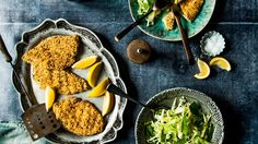 Lemon and thyme chicken schnitzel with cabbage, mint and Parmesan slaw Schnitzel Recipes, Chicken Schnitzel, Healthy Cholesterol Levels, Cholesterol Diet, Cholesterol Symptoms, Reduce Cholesterol, Healthy Chicken, Chicken Recipes, Crab Recipes