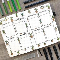 Love these cactus doodles in this bullet journal #bulletjournal #bujo #weekly #cactus