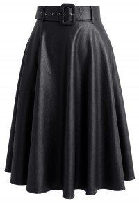 On the Modish Way Faux Leather Skirt in Black