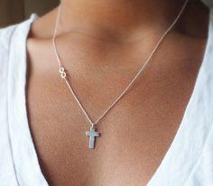 Personalized Cross Necklace  Infinity by BellatrinaJewelry on Etsy, $48.00