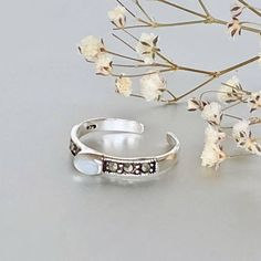 Shop unique handmade goods from OneYellowButterflyy. Toe Ring Designs, Sterling Silver Toe Rings, Toe Band, White Stone, Unique Fashion, Cuff Bracelets, Artisan, Fashion Jewelry, Unique Jewelry