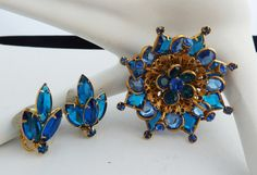 Vintage Sapphire Blue Brooch and Earrings by PattycatsTreasures, $25.00