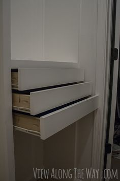 Step by step instructions to build DIY wooden drawers for installation in a custom closet.