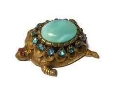 1920's Bohemian Turtle Brooch Marked Czecho Gablonz Style Blue Glass.