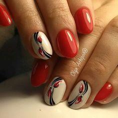 Nails and Artistic Nail Styles Creative Nail Designs, Creative Nails, Nail Art Designs, Pretty Nail Art, Beautiful Nail Art, Red Nails, Hair And Nails, Fingernail Designs, Flower Nails