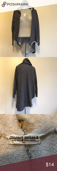 Project Social T Raw Hem Hooded Cardigan Gently used condition navy raw hem Project Social T cardigan with hood. Women's size small. Project Social T Sweaters Cardigans