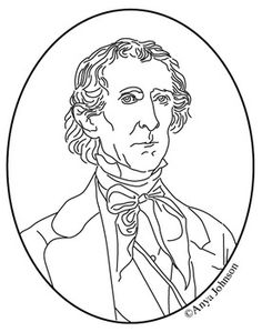 john tyler 10th president clip art coloring page or mini poster