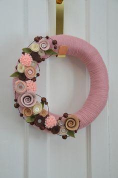 Yarn Wreath - NURSERY, MOTHER'S DAY - 12 inch Rose Yarn Covered Straw Wreath with Handcrafted Felt Flowers