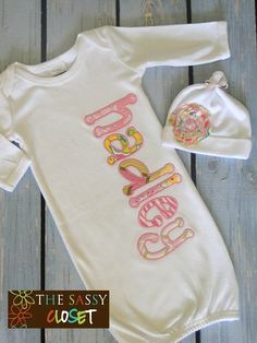 Baby Applique Name Gown by TheSassyCloset on Etsy, $25.00