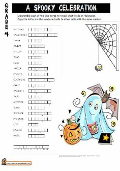 Printables 4th Grade Homeschool Worksheets halloween crossword puzzles and on pinterest grade 4 worksheet double puzzle word homeschoolfreebies worksheets