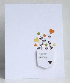 Mpin - Happy wishes handmade card KandRdesigns: ColourQ 126 Handmade Birthday Cards, Greeting Cards Handmade, Simple Handmade Cards, Simple Birthday Cards, Karten Diy, Happy Wishes, Best Wishes Card, Ideias Diy, Paper Cards