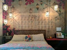 We're finally here with our garden style vintage bedroom reveal. We started Scandinavian and ended up with this beautiful burst of colour. check it out! Indian Room Decor, Ethnic Home Decor, Indian Home Interior, Room Interior, Indian Interiors, Interior Ideas, Home Decor Furniture, Home Decor Bedroom, Bedroom Ideas