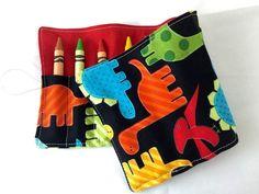 Dinosaur Crayon Roll, Toddler Travel Toy, Boy's Crayon Case, Crayon Wallet   #handmade #ecohip #crayonroll