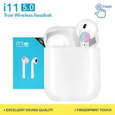 New TWS Wireless Bluetooth Headset Air Earphone Touch Control Headset (Tested Before Shipped) Wireless Headset, Bluetooth, 5 Hours, Siri, Phone Accessories, Distance, Bass, Charger, Headphones
