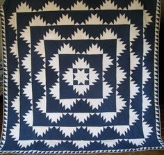 Antique Indigo Blue & White Quilt c1860-80 ~ Delectable Mountain from stonehouseantiques on Ruby Lane