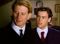 Dark-haired Scudder (Rupert Graves) confronts Maurice (James Wilby) in a scene that leads to their reunion in James Ivory's 1987 film based on the Forster novel Maurice. James Wilby, Billie Whitelaw, Simon Callow, Victor Frankenstein, Rupert Graves, Hugh Grant, King And Country, Film Base, Movies