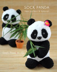 Sew a set of twin sock panda PaiPai & PeiPei with pair of white & black chenille microfiber socks. Free pattern with steps photo and printable template. – Page 2 of 2
