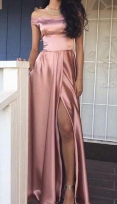 Simple Satin Prom Dress,Off the Shoulder Split Prom Dress,Custom Made Evening Dress,Glamorous prom dress