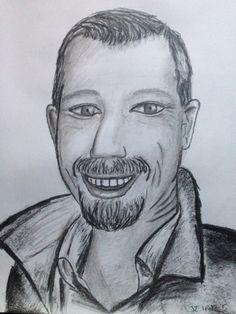 Zelfportret, houtskool op papier