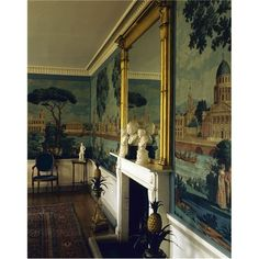 Murals in dining rooms - panoramic wall painted by Dufours in 1815 at Stonor House in England Scenic Wallpaper, Antique Wallpaper, Wall Treatments, Historic Homes, Country Life, Decoration, Sweet Home, Interior Design, Painted Walls