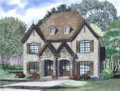 View this 2-unit duplex, 2 story, 2 bedrooms per unit, well-designed multi-unit home plan (#153-1998) with European influences at The Plan Collection.