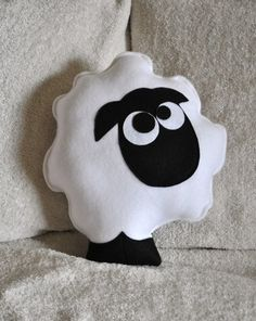 Shaun the Sheep pillow.  Count the Sheep Plush Pillow Ready to Ship by bedbuggs on Etsy, $26.00