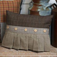 Plaid Herringbone Ruffle Front Pillow