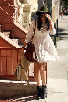 little white dress + hat.
