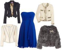 Chaqueta para vestido azul y blanco