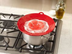 Look Ma, No Spills  Cleaning up the stove is no one's idea of a good time. The Kuhn Rikon Kochblume Spill Stopper ($24.95-$29.95, amazon.com) is a great silicon lid that prevents rice or pasta water, soup or any other liquid from bubbling over and leaving you with a sticky mess to scrub off. It's available in red, green, and purple, in 10- and 12-inch sizes.