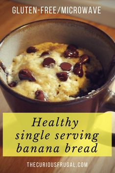 ) - The Curious Frugal Healthy single serving banana bread (microwave banana bread!) - The Curious Frugal Gluten Free Mug Cake, Gluten Free Banana Bread, Gluten Free Desserts, Healthy Desserts, Gluten Free Recipes, Dessert Recipes, Entree Recipes, Healthy Mug Recipes, Gluten Free Brownies