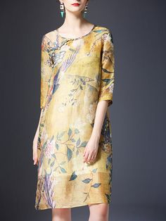 Shop Midi Dresses - Half Sleeve Vintage Crew Neck Two Piece Midi Dress online. Discover unique designers fashion at StyleWe.com.