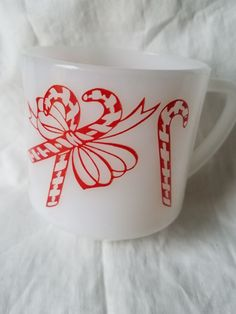 Vintage Federal Glass Red Bows and Candy Canes Christmas Mug Cup Milk Glass