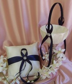 nautical ring bearer pillow | Navy Blue Wedding Color Flower Girl Basket and Ring Bearer... review ...