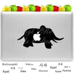 Elephant Zoo Animal Circus Decal- For Macbook- (choose color from color wheel)