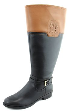 Tommy Hilfiger Women's Wide Calf Black Tan Drea 2 Riding Boots